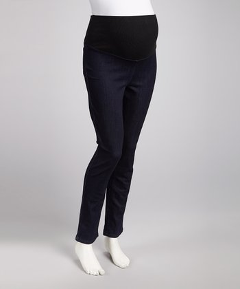 Blue Over-Belly Maternity Straight-Leg Pants - Women