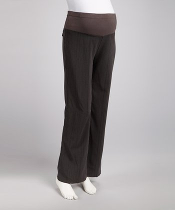 Gray Twill Over-Belly Maternity Pants - Women