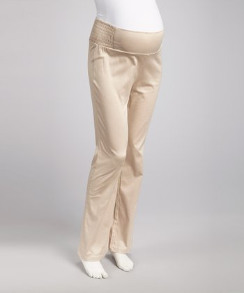 Khaki Shirred Over-Belly Maternity Pants