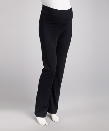 Black Maternity Yoga Pants - Women
