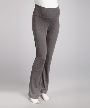 Heather Gray Maternity Yoga Pants - Women