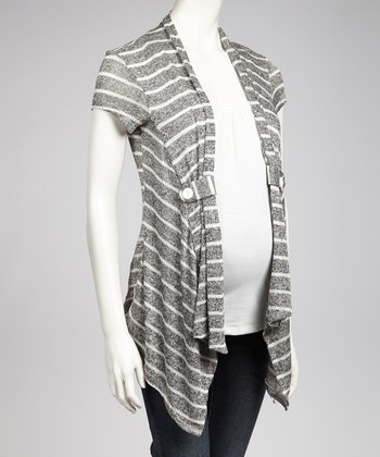Black & Ivory Layered Maternity Open Cardigan - Women