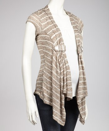 Coffee & Ivory Maternity Layered Open Cardigan - Women