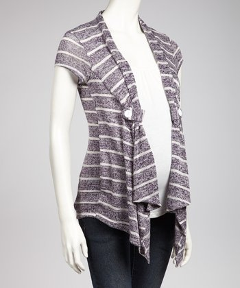 Purple & Ivory Layered Maternity Open Cardigan - Women