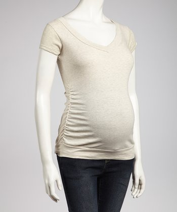 Oatmeal Maternity V-Neck Top - Women