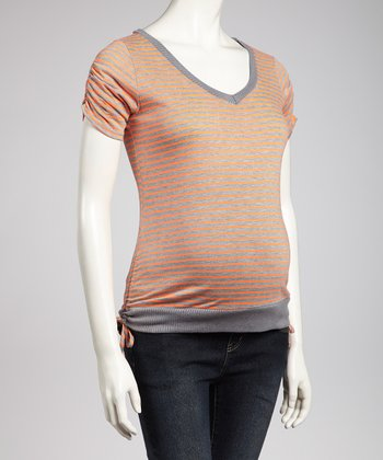 Gray & Orange Stripe Maternity Top - Women