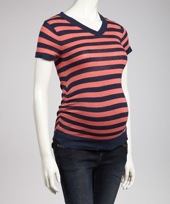 Navy & Coral Maternity V-Neck Top - Women