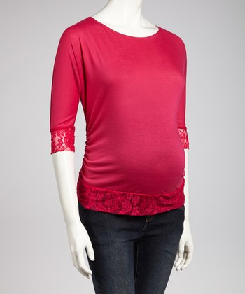 Fuchsia Lace Maternity Top