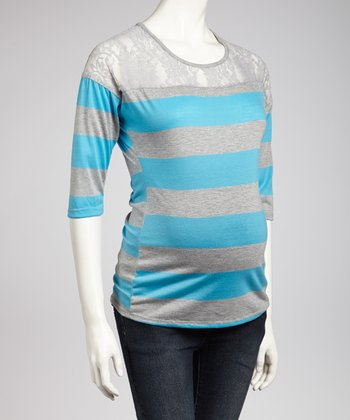 Turquoise & Gray Lace Maternity Top - Women