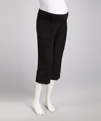Black Tropical Maternity Capri Pants - Women