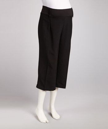Black Tropical Maternity Capri Pants - Plus