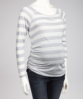 Charcoal Ruched Maternity Long-Sleeve Top - Women