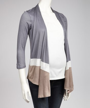Gray & Tan Maternity Layered Open Cardigan - Women