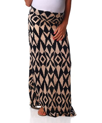 Beige & Black Geometric Maternity Maxi Skirt - Women