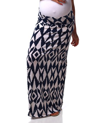 Navy Blue & White Geometric Maternity Maxi Skirt - Women