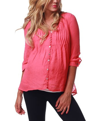Coral Sheer-Back Maternity & Nursing Top - Women