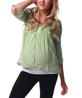 Green Sheer-Back Maternity & Nursing Top