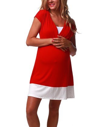 Red & White Color Block Maternity & Nursing Dress - Women