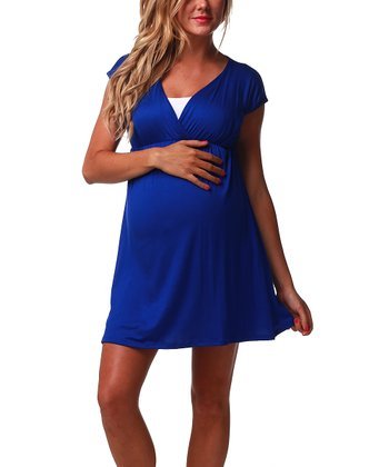 Royal Blue Color Block Maternity & Nursing Dress