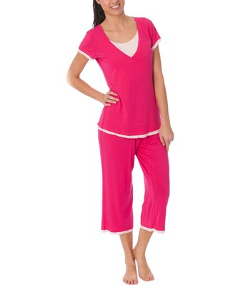 Pink Layered Nursing Capri Pajama Set - Women & Plus