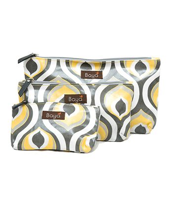 Yellow Peacock Diaper Pouch - Set of Three