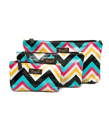 Black & Turquoise Zigzag Diaper Pouch - Set of Three