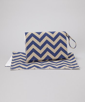 Blue Denton Zigzag Diaper Clutch