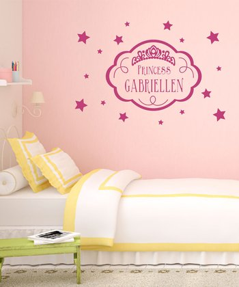 Dark Pink 'Princess' Personalized Wall Decal Set