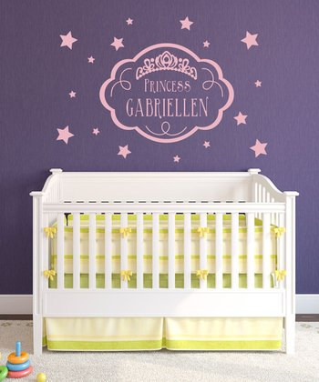 Pink 'Princess' Personalized Wall Decal Set