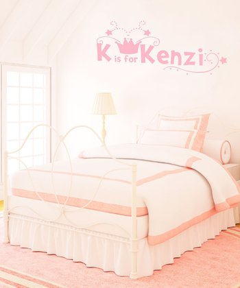Light Pink Crown Personalized Wall Decal