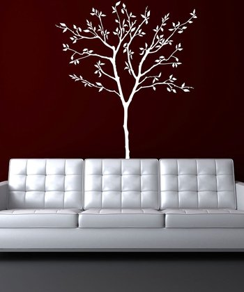 White Spring Tree Wall Decal Set
