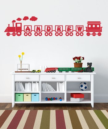 Red Ride the Name Train Personalized Wall Decal Set