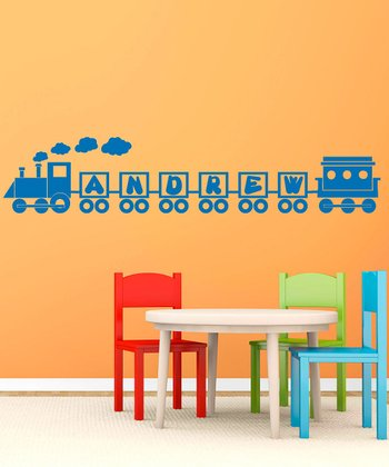Azure Blue Ride the Name Train Personalized Wall Decal Set
