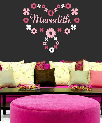 Carnation Flower Ring Personalized Wall Decal Set