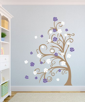 Curly Tree & Flowers in the Wind Wall Decal Set