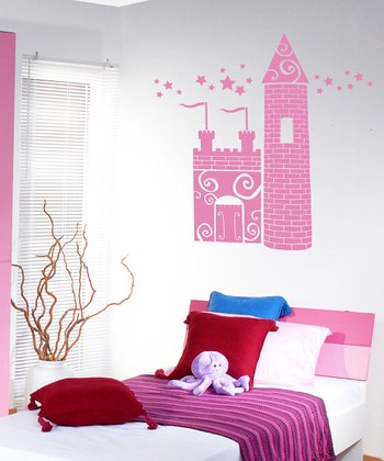 Soft Pink Princess Castle Wall Decal Set