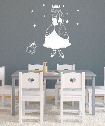 White Princess & Frog Wall Decal Set