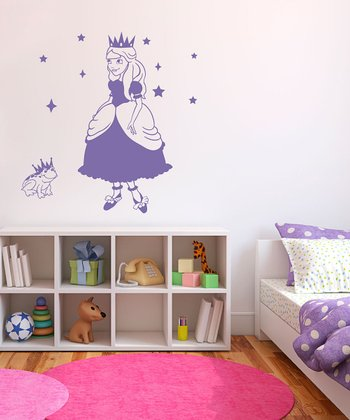 Lavender Princess & Frog Wall Decal Set