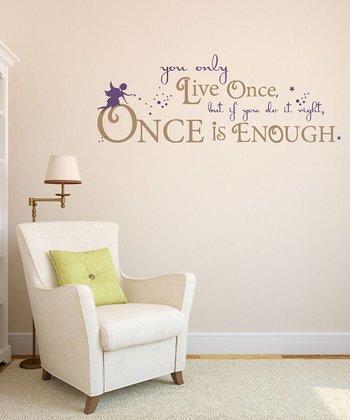Violet 'You Only Live Once' Quote Wall Decal Set