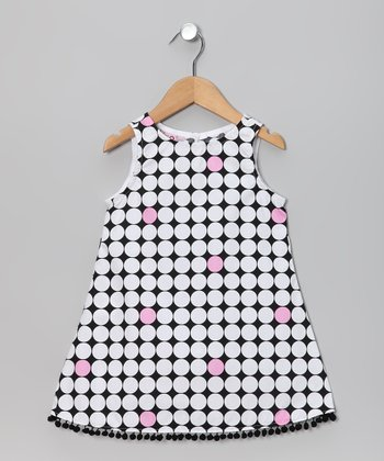 Black & White Polka Dot Pom-Pom Dress - Infant, Toddler & Girls