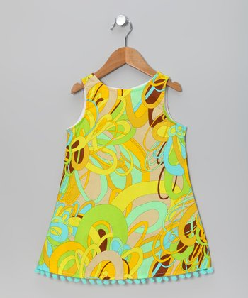 Green & Yellow Swirl Pom-Pom Dress - Infant, Toddler & Girls