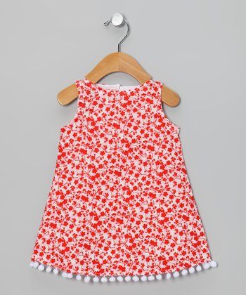 Red & White Floral Pom-Pom Dress - Infant & Toddler