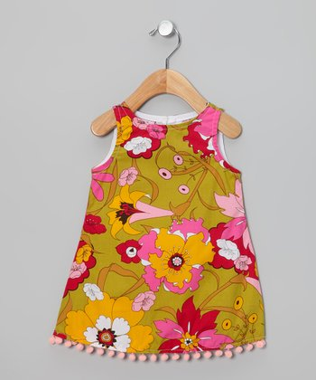 Green & Pink Floral Pom-Pom Dress - Infant, Toddler & Girls