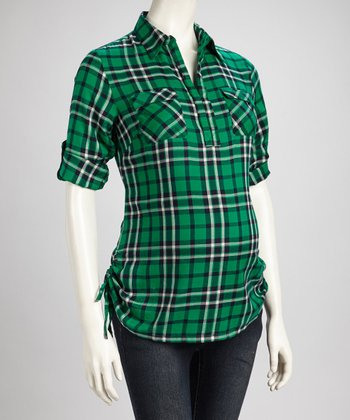 Green Plaid Maternity Top - Women