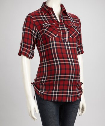 Red Plaid Maternity Top - Women