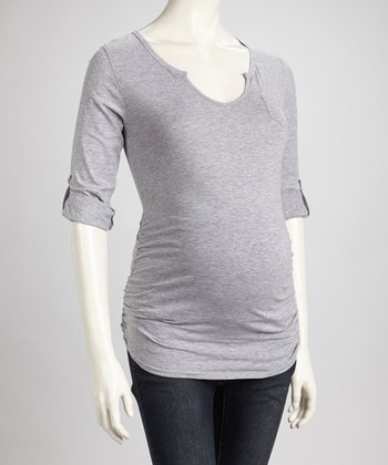 Heather Gray Ruched Maternity U-Neck Top - Women
