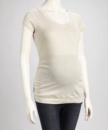 Oatmeal Ruched Maternity V-Neck Tee