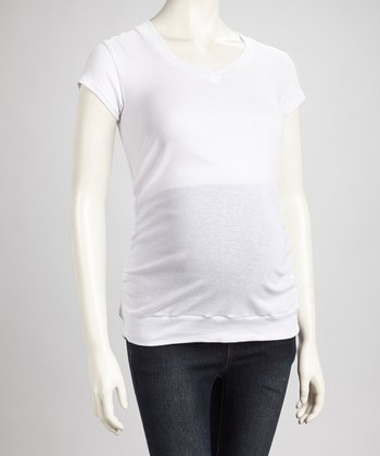 White Ruched Maternity V-Neck Top - Women