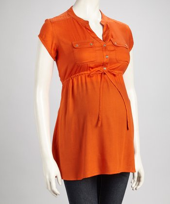 Koi Button Maternity Tunic - Women