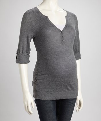 Heather Gray Ruched Maternity Henley Sweater - Women